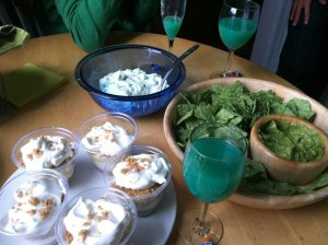 Guacamole & Chips, Key Lime Pie Cups and Pistachio Ambrosia Salad - mmm :)