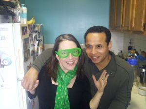 Showing off these cool green glasses with my friend Fidel