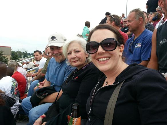 My parents and me enjoying the races from seats right on the more start line.