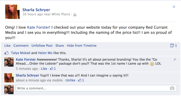 Facebook Conversation with Sharla Schryer